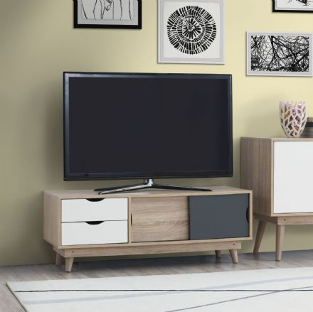 Alford 2 Door & 2 Drawer TV Unit Oak / Grey